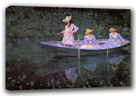 Monet, Claude: La Barque a Giverny. Fine Art Landscape Canvas. Sizes: A3/A2/A1 (00763)